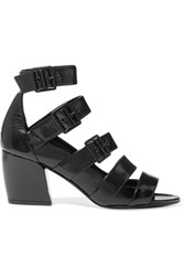 Pierre Hardy Parallele Buckled Glossed Textured Leather Sandals Black