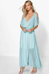 Boohoo Chiffon Double Layer Wrap Maxi Dress Aqua