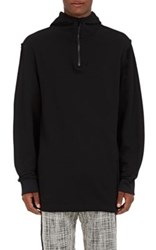 Public School Men's Cotton Terry Elongated Hoodie Black