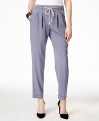 Ny Collection Cuffed Pull On Pleated Trousers Gray