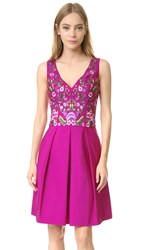 Marchesa Cocktail Dress With Floral Embroidery Fuchsia