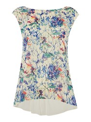 Therapy Faith Floral Print Woven And Jersey Top Multi Coloured