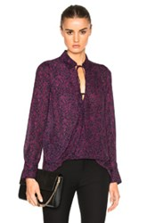 Derek Lam 10 Crosby Drape Front Top In Purple Abstract Purple Abstract