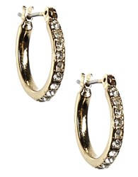 Anne Klein 12 Kt Gold Plated Crystal Hoop Earrings