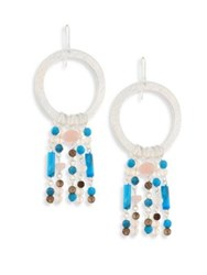 Stephanie Kantis Turquoise Howlite And Smoky Topaz Circle Drop Earrings Silver Multi