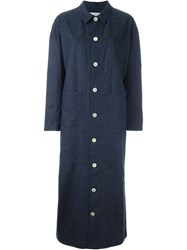 Julien David Denim Effect Contrast Button Down Oversized Coat Blue