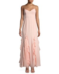 Fame And Partners The Lara Ruffle Spaghetti Strap Gown Light Pink