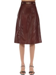 Gucci Leather Skirt W Gg Buckle Bordeaux