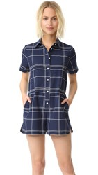 Sea Plaid Romper Navy
