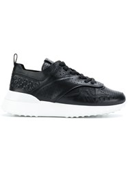 Tod's Flatform Lace Up Sneakers Leather Rubber Black