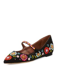 Tabitha Simmons Hermione Embroidered Linen Flat Black Multi