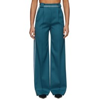 Fendi Blue High Waisted White Stitch Trousers