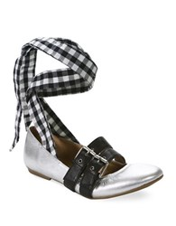 Luxury Rebel Sari Gingham Lace Up Leather Ballet Flats Silver
