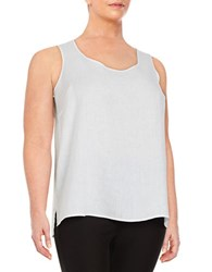 Lord And Taylor Plus Linen Tank Top White