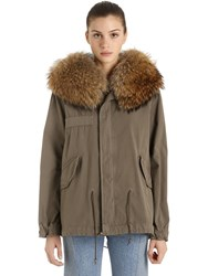 Mrandmrs Italy Mini Stonemud Cotton Canvas Parka W Fur Green