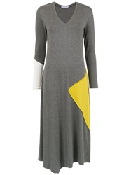 Mara Mac Panelled Midi Dress Grey