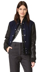 Oak Double Front Varsity Jacket Black Midnight