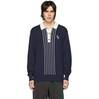 Aime Leon Dore Navy Striped Monogram Rugby Polo