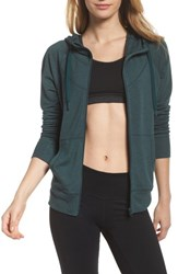 Zella Well Played Zip Fleece Hoodie Green Ponderosa Heather