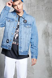 Forever 21 Patched Denim Jacket Light Denim
