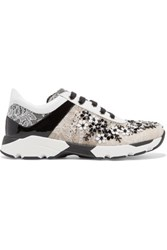 Rene Caovilla Sequin Embellished Lace Sneakers White