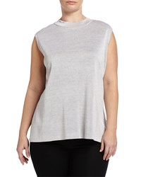 Ming Wang Plus High Neck Shimmer Knit Tank Silver