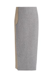 Carl Kapp Curved Vent Wool Blend Pencil Skirt Grey Multi