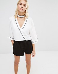 Fashion Union Wrap Chiffon Shirt White
