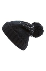 Women's Collection Xiix Knit Pompom Beanie Black Black Paint