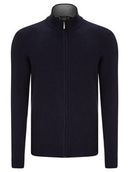 John Lewis Made In Italy Cashmere Zip Through Jumper Navy