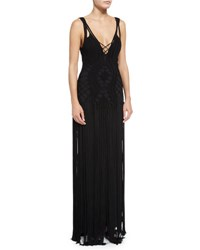 Ralph Lauren Crocheted Sleeveless Cami Gown Black