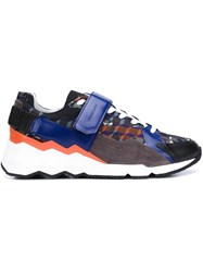 Pierre Hardy 'Comet' Forest Camocube Print Sneakers Blue