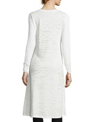 P. Luca Long Sleeve Front Slit Tunic Tee Off White