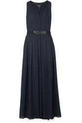 Akris Belted Wool Voile Maxi Dress Navy