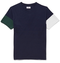 Hentsch Man Colour Block Cotton Jersey T Shirt Blue