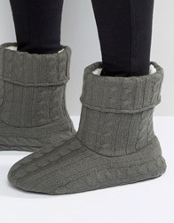 Asos Slipper Boots In Grey Cable Knit Grey