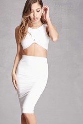 Forever 21 Faux Suede Crop Top And Skirt White