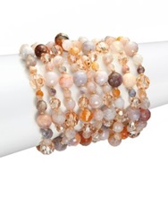 Chan Luu African Opal Crystal And Leather Multi Strand Bracelet Rose Multi