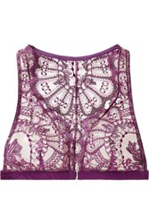 I.D. Sarrieri Coup De Foudre Satin Trimmed Chantilly Lace And Tulle Soft Cup Triangle Bra Violet
