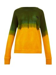 The Elder Statesman Tie Dyed Palm Tree Motif Cashmere Sweater Green Multi