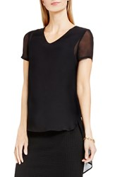 Vince Camuto Women's Shirttail V Neck Top Rich Black