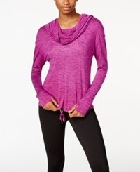 Calvin Klein Performance Cowl Neck Hoodie Pullover Vivid Violet Combo