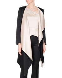 Roland Mouret Studhan Draped Satin Open Front Coat With Contrast Lining Black Pink