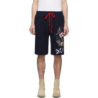 Greg Lauren Navy Paul And Shark Edition Patches Shorts