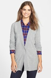 Sweet Romeo Two Pocket V Neck Cardigan Gray