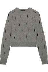 Kate Moss For Equipment Ryder Intarsia Cashmere Sweater Gray