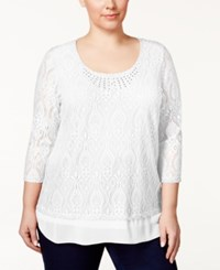 Jm Collection Woman Jm Collection Plus Size Embellished Crocheted Tunic Only At Macy's Bright White
