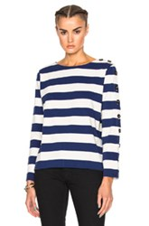 Mih Jeans M.I.H Button Sleeve Breton Top In Stripes