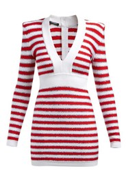 Balmain Intarsia Stripe V Neck Knitted Mini Dress Red Multi