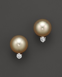 Bloomingdale's Diamond And Golden South Sea Pearl Earrings In 14K Yellow Gold 10Mm